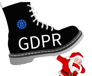 GDPR boot squashing santa